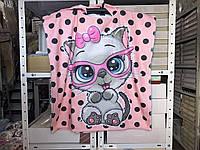 Детское яркое полотенце пончо Котик Цвет розовый велюр-махра 3D принт 100% Хлопок 60*120