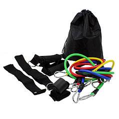 Еспандер трубчастий Lesko MJ-041 набірної для фізичних вправ фітнесу з рукоятками манжетами