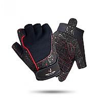 Перчатки для фитнеса Женские Way4you Black, кожа, черный/красный (ВФЮ w-1736)