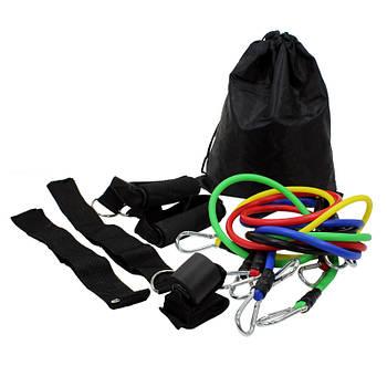 Эспандер трубчатый Lesko MJ-041 наборной для тренировок фитнеса силовой с рукоятками манжетами
