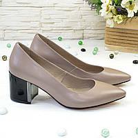 Туфли женские кожаные на устойчивом каблуке, цвет визон. 40 размер