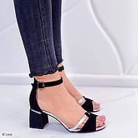 Босоножки женские черные с серебром на каблуке 6,5 см эко- замш, фото 1