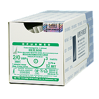 Нейлон монофіламент синій USP (EP): 2/0(3), 0,75м, Колюча голка 36мм 1/2, OPUSMED® (полиамид)