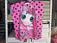 Детское яркое полотенце пончо Единорожка Цвет розовый велюр-махра 3D принт 100% Хлопок 60*120