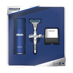 Подарочный Набор Gillette Mach3 (Бритва Gillette Mach3 + Гель для бритья + подставка) 8278