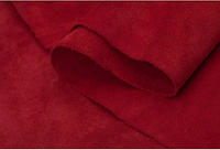 Натуральная кожа Велюр (спил-велюр), красный замш