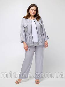 Свободный брючный серый костюм с кофтой на молнии больших размеров (Фалькон lzn)