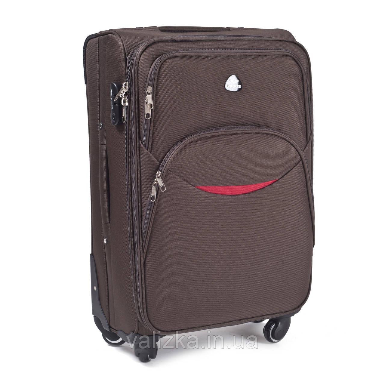 Большой тканевый чемодан коричневый на 4-х колесах Wings 1708