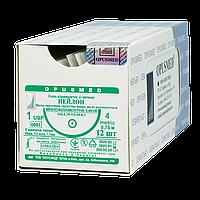 Нейлон монофіламент синій USP (EP): 1(4), 0,75м, Колюча голка 40мм 1/2, OPUSMED® (полиамид)