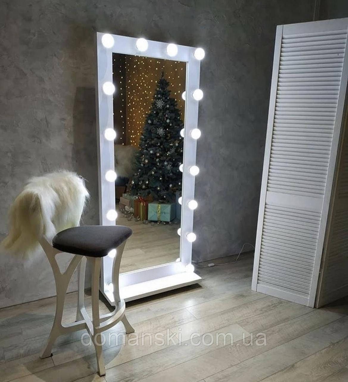 Зеркало напольное с лампами, размер 1800/800 мм. Цвет Белый