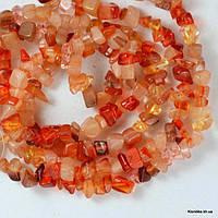 Сколы Камня Сердолика, Натуральные, 6~8~10 мм, Цвет: Оранжевый (90 см/нить)