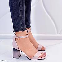 Женские босоножки бежево- пудровые / розовые  на каблуке 7,5 см эко кожа, фото 1