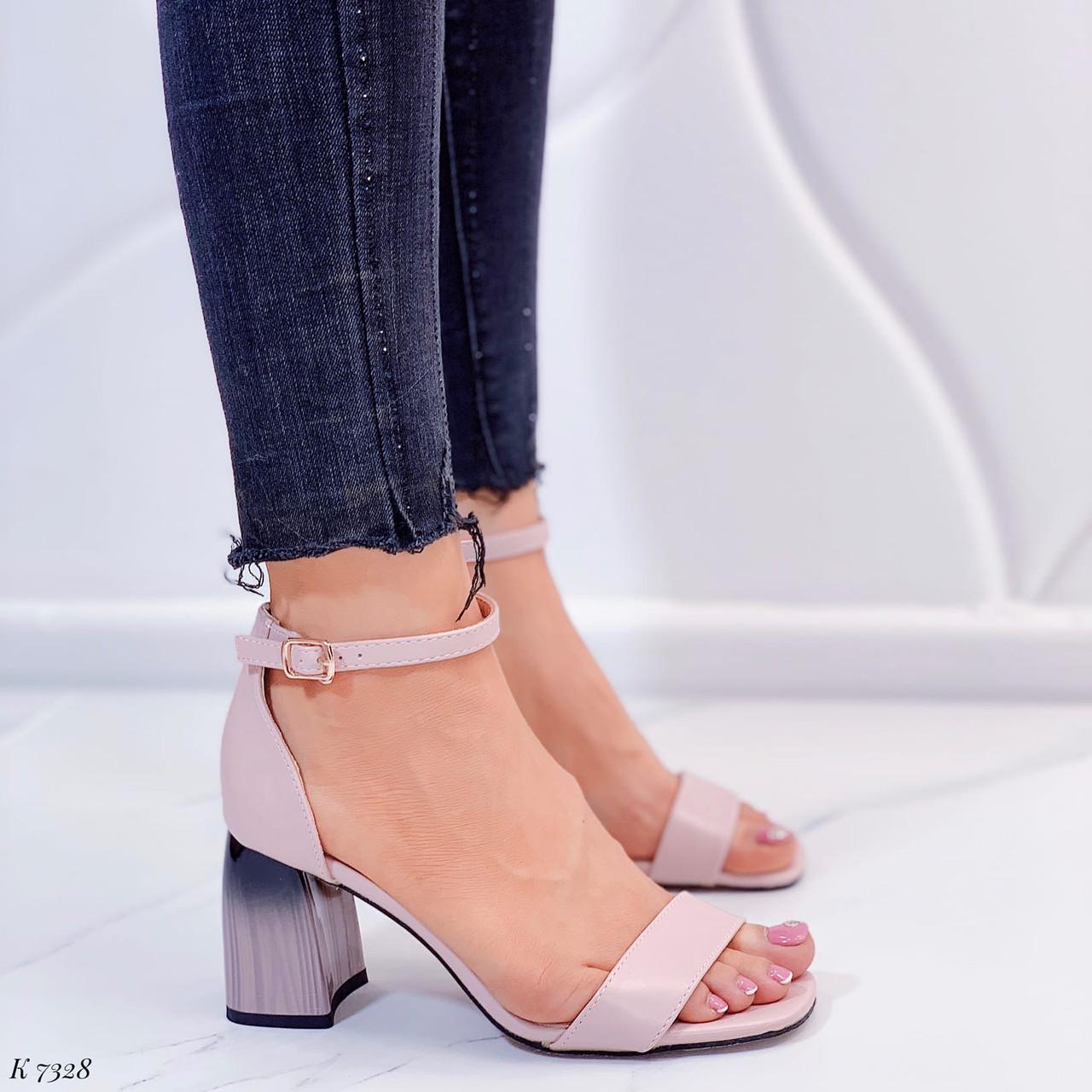 Женские босоножки бежево- пудровые / розовые  на каблуке 7,5 см эко кожа