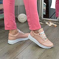 Кроссовки кожаные женские на шнуровке, цвет пудра. 39 размер