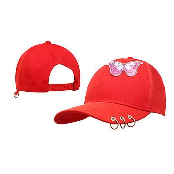Девочка Детская Бейсболка Бабочка пирсинг Салатовая Красный
