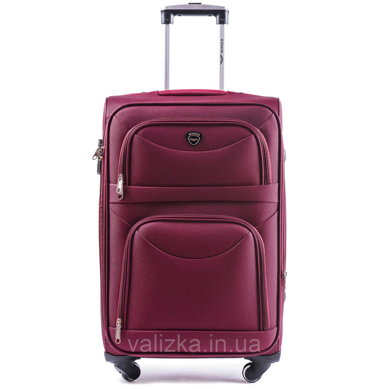 Средний текстильный чемодан красный на 4-х колесах Wings 6802