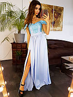 Платье вечернее в пол с кружевом VB607