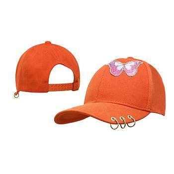 Девочка Детская Бейсболка Бабочка пирсинг Салатовая Оранжевый