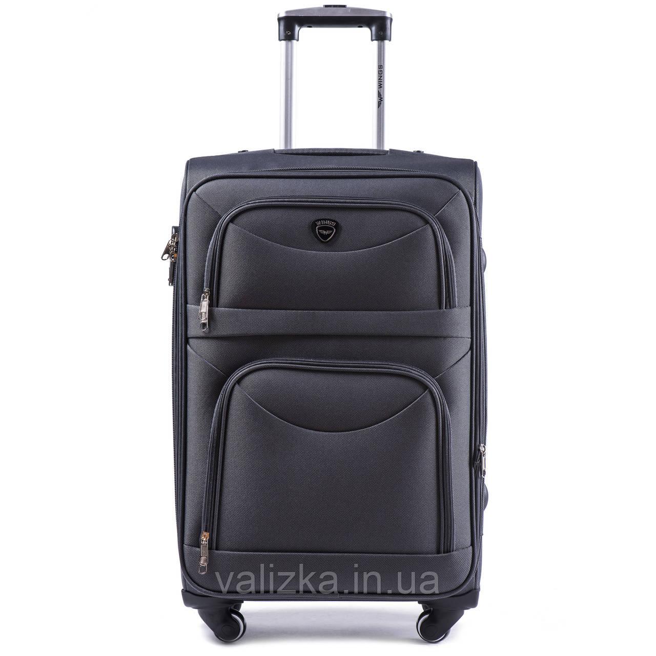 Большой тканевый чемодан серый на 4-х колесах Wings 6802