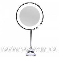 Гибкое зеркало на присоске с 10x увеличением и подсветкой LED MIRROR 10X для макияжа