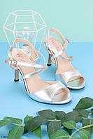 Босоножки женские серебристые на каблуке 9 см, фото 1