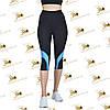 Жіночі спортивні чорні бриджі з блакитними вставками розміри від 42 до 52, фото 2