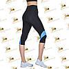 Жіночі спортивні чорні бриджі з блакитними вставками розміри від 42 до 52, фото 3