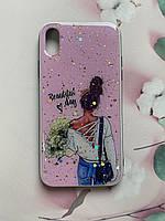 Силиконовый чехол с принтом для Apple iPhone XR Девушка с цветами