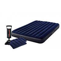 Надувной матрас Intex 64765 с насосом и подушками велюровый 203х152х25 см