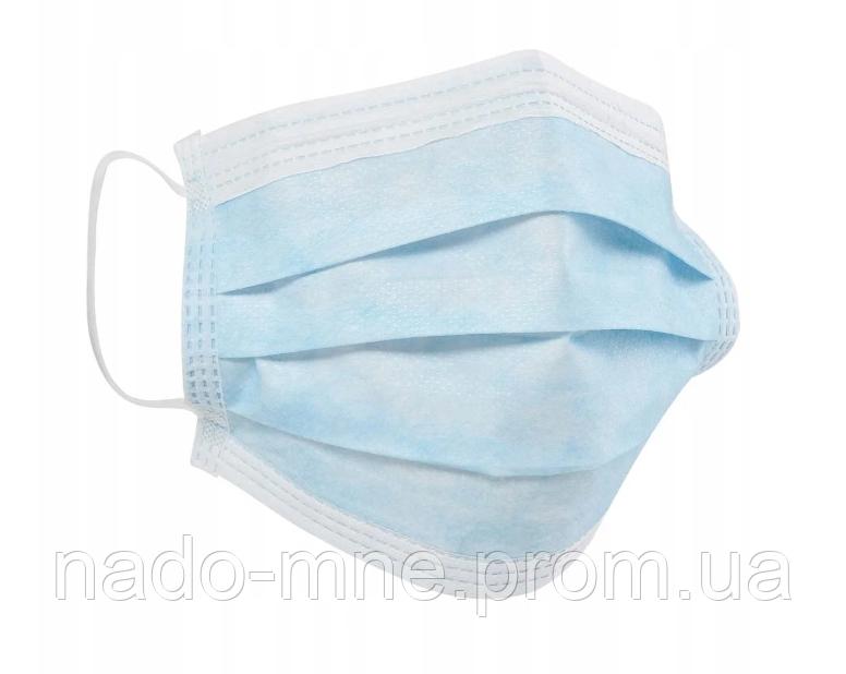 Одноразовая медицинская трехслойная маска на основе фильтрующей ткани MELTBLOWN - продажа кратно 50 штук.