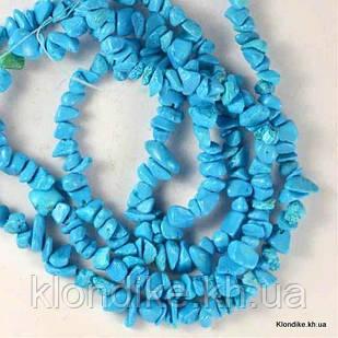 Сколы Камня Бирюзы, Натуральные, 6~8~10 мм, Цвет: Синий (90 см/нить)