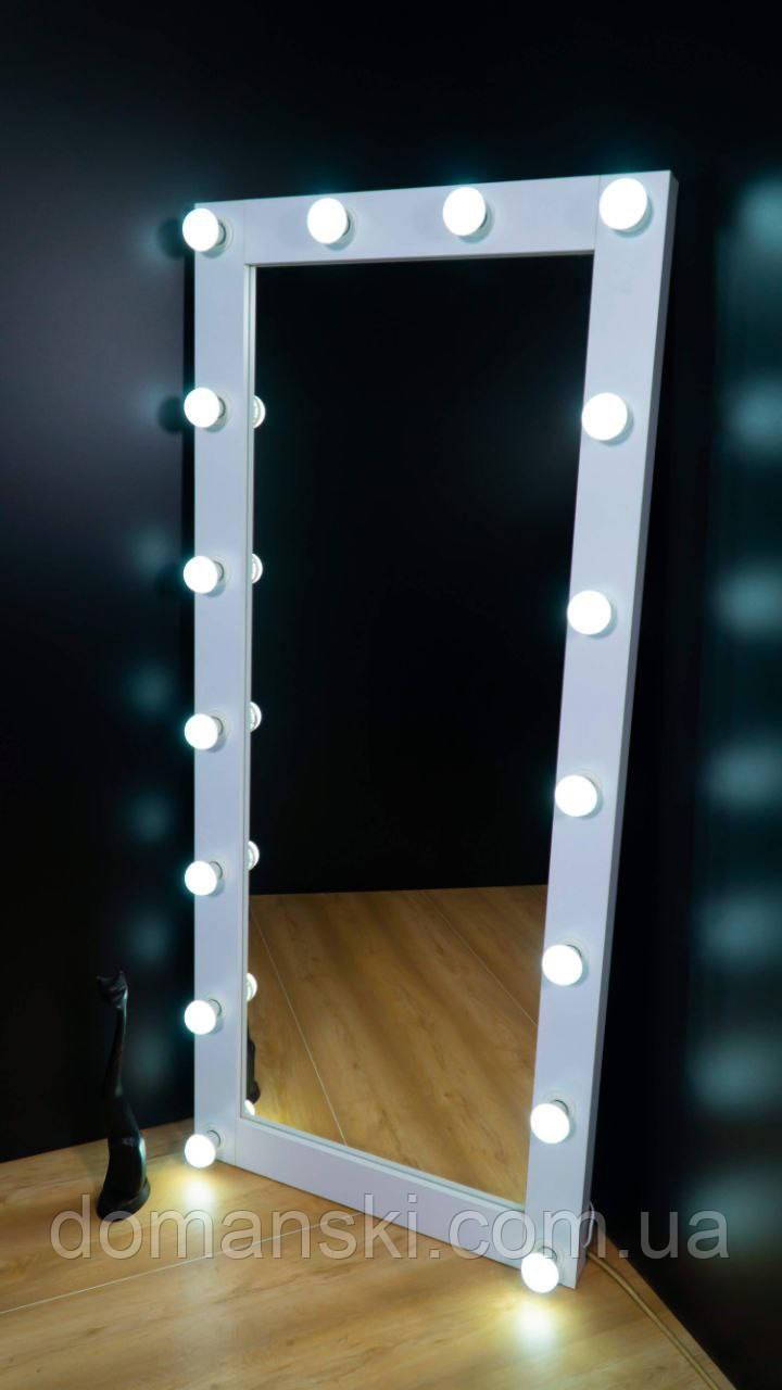 Зеркало настенное с лампами, размер 1800/800 мм. Цвет Белый