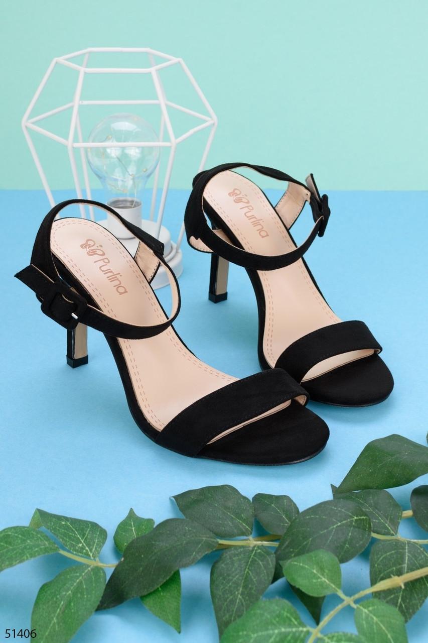 Босоножки женские черные  на каблуке 8 см эко- замш