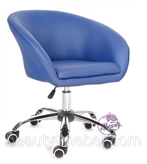 Кресло Мурат К, мягкое, на колесах, цвет синий.