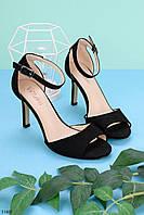 Босоножки женские черные  на каблуке 9 см эко- замш, фото 1