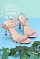 Женские босоножки пудровые / розовые  на каблуке 8 см эко кожа, фото 1