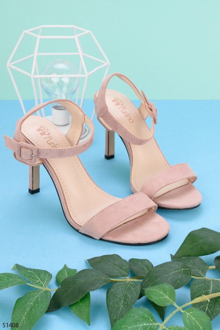 Женские босоножки пудровые / розовые  на каблуке 8 см эко кожа