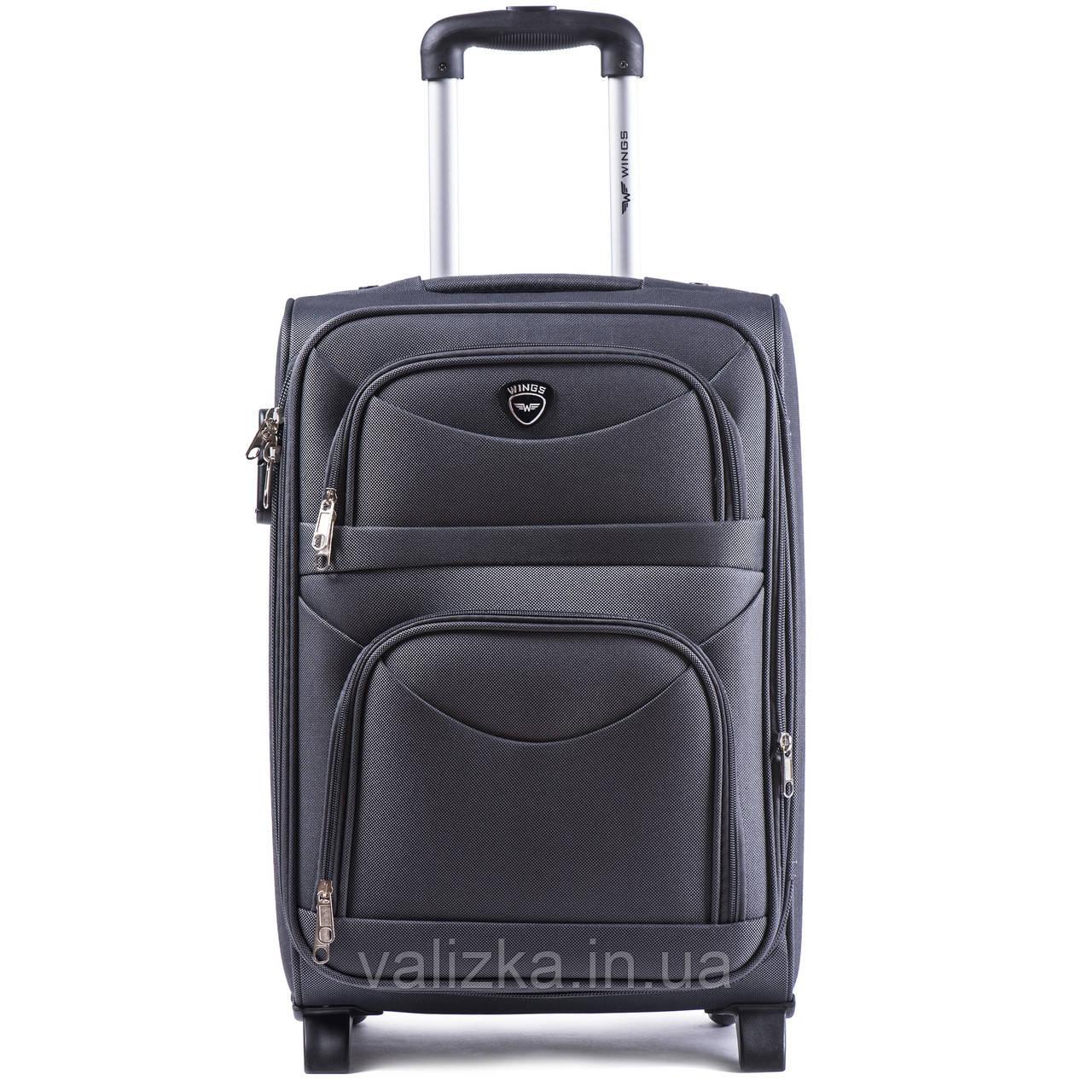 Малый текстильный чемодан серый с расширителем Wings 6802-2