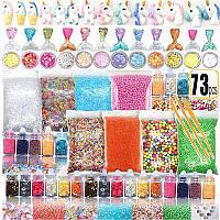 Набор Добавки для Слайма 73 шт посыпки, декор, глиттер, фишболы, пенопластовые шарики  в Подарочной Упаковке