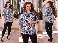 Женский удобный летний брючный костюм джеггинсы и блуза леопардовая Размер :50-52, 54-56, 58-60.