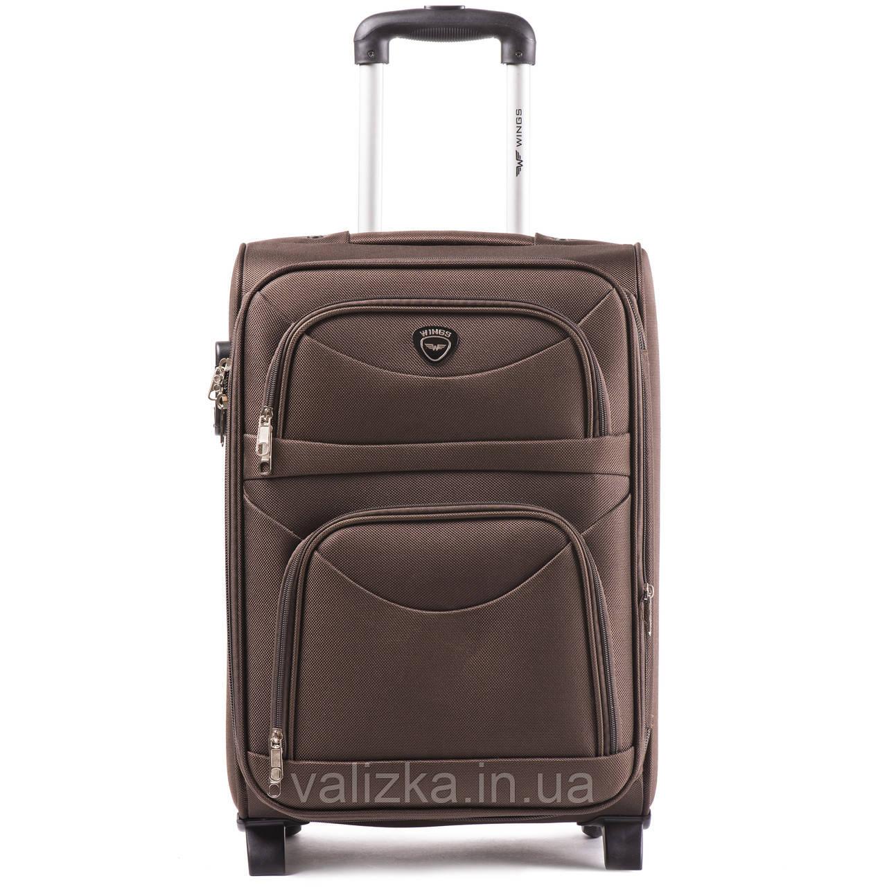 Малый текстильный чемодан коричневый с расширителем Wings 6802-2