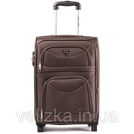 Малый текстильный чемодан коричневый с расширителем Wings 6802-2, фото 2