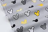 """Бязь """"Жёлтые и чёрные Микки Маусы"""" на сером фоне, №2816, фото 2"""