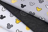 """Бязь """"Жёлтые и чёрные Микки Маусы"""" на сером фоне, №2816, фото 6"""