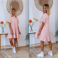 Платье женское 3042 (1(44-46); 2(46-48); 3(48-50) (цвета: розовый, хаки, лиловый, красный) СП