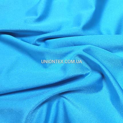 "Трикотаж бифлекс ""купальник"" блестящий голубая бирюза, фото 2"