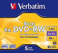 Диск DVD-RW Verbatim mini 1.4Gb 4X Jewel 5шт Matt Silver 43565