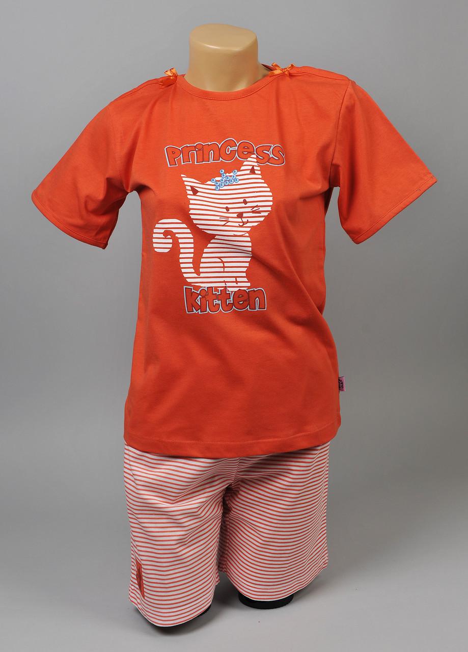 Пижама для девочки Natural Club 1054 134 см Оранжевый