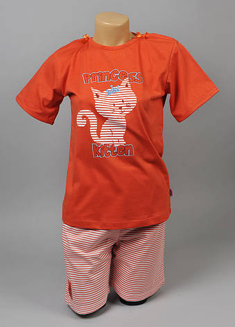 Пижама для девочки Natural Club 1054 134 см Оранжевый, фото 2