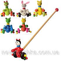 Деревянная игрушка Каталка на палочке каталочка детская, Каталка на паличці MD 0024, 000030